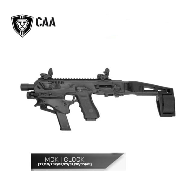 CAA Micro Conversion Kit for Glock 17/19/19x/22/23/25/31/32/45, Long Stabilizer, Black