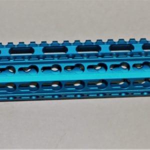 """AR15 15"""" Keymod Free Float Rail System with Barrel Nut, Blue"""