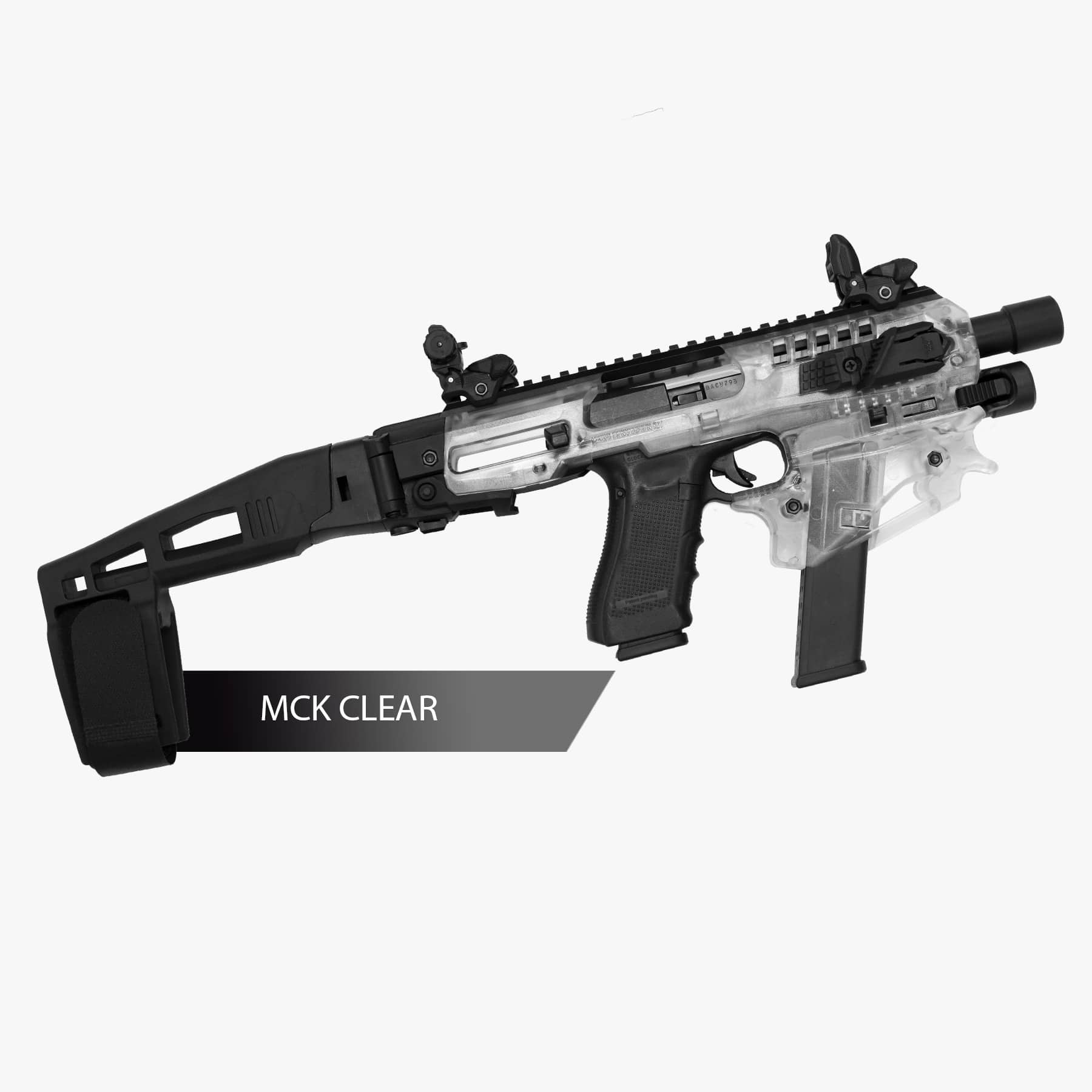 CAA Micro Conversion Kit for Polymer 80 Models V1/V2 Glock 17/19/22/23/31, Long Stabilizer, Clear