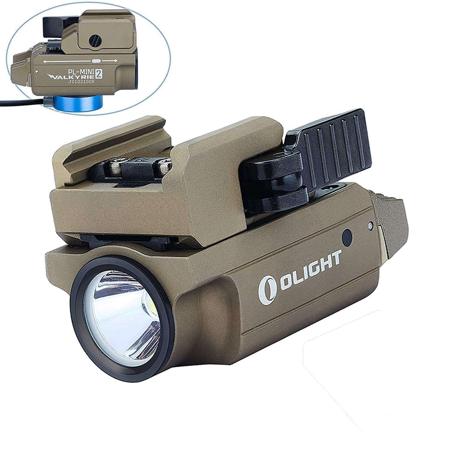 Olight PL-Mini 2 Valkyrie 600 Lumens Rechargeable Compact Weapon Light (Desert Tan)